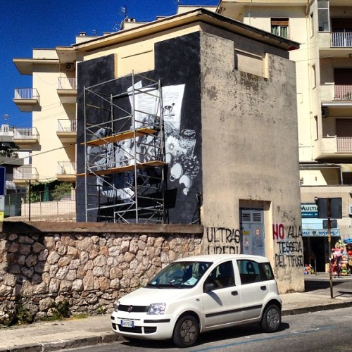 Almost done at #memorieurbane in #gaeta #lucamaleonte #stencil #multilayer @memorieurbane