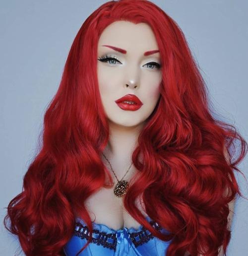 my face mermay Makeup Wig Red hair