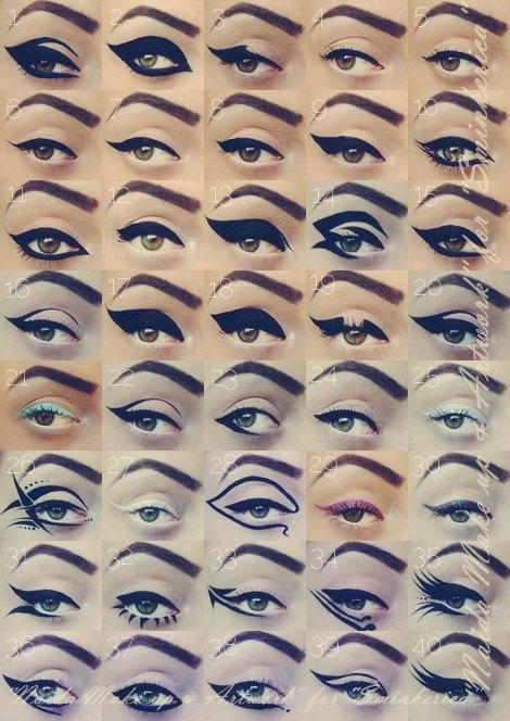 madeupeyes:  Different eyeliner styles. Would you try the more extreme ones out? Digging 1, 10, 11, 15, 22, 35, 39 and 40. Via pinterest.