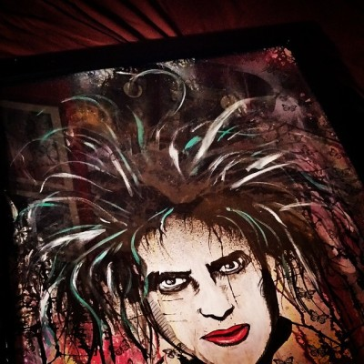 Huge Fucking Awesome Robert Smith piece by Ryan Case! Picked it up at the wonderful flea Off Market!!! #ryancase #sinkorswimstudio #louisville #fleaoffmarket #painting #art #portrait #robertsmith #thecure #crazyhair
