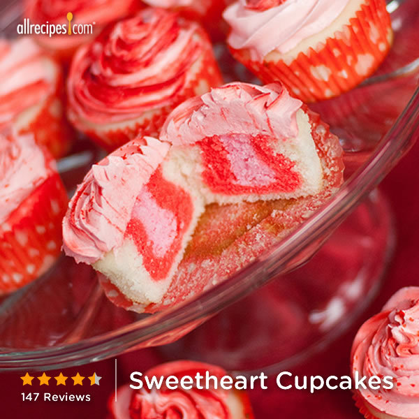 allrecipes:  Sweetheart Cupcakes | Kids will love the special surprise inside these cupcakes.  Ooooo yessss 😍