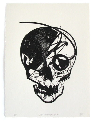 "jasonthielke:  ""Just Like Everyone Else"" block print"