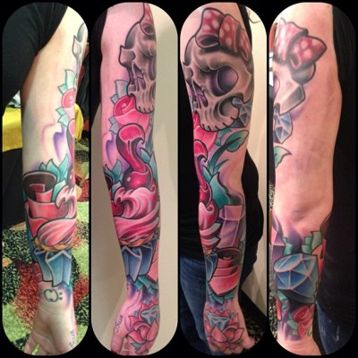 Sleeve. One sitting Jeremy miller. Pigment dermographics Austin Texas. Done at Detroit tattoo expo.
