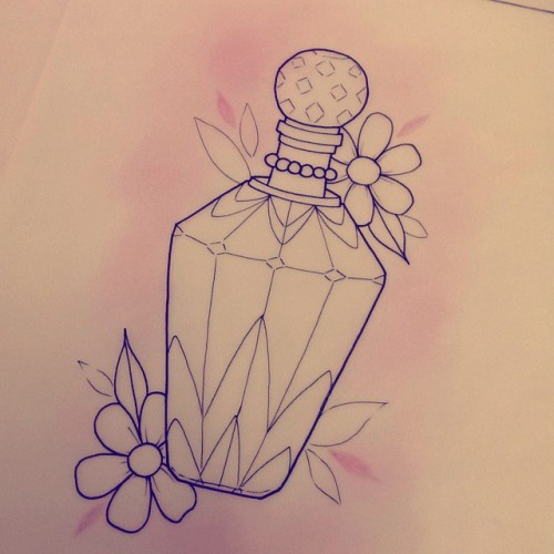 tattoos tattooideas flashart girlythings perfumebottletattoo neotraditional tattooworkers flashworkers drawing