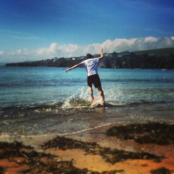 (Not so) little bro, skim boarding … (at Bantham Beach)