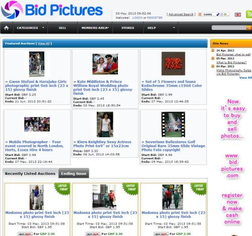 Bid Pictures where amateurs, students, pros in fact anyone who has any photos, slides, negatives, prints can sell their work or items via an auction. It's a good way to get your work to market, works via Paypal, is easy to use, free to join, free to list items with a low start fee and a great chance for photographers to offer their services too.  You can sell photographic prints, slides, negatives, posters, CD compilations, signed photos, historical photos, photo memorabilia - infact, anything photographic. If you are a Pro, semi-pro, serious amateur, a student or have ever taken a great shot you can sell the following: Sell your services - yes, auction or offer your photo services for a fixed fee! You may be surprised how busy your bookings get! Sell your prints, negatives or slides - photo prints, signed photos, art prints, press prints, originals, duplicates or press slides. Great for other collectors, users or investors in photography . Sell your best photos for royalty free uses - you can send these via email or offer download and keep the price low for your clients. www.bidpictures.com -a very inexpensive way of selling your work. Photo shoppers come here and experience the incredible photographic world of Bid Pictures, you never know what you might find! www.bidpictures.com - your one-stop photo shop
