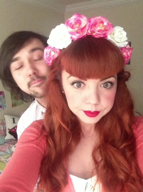 Giant flower crown and Sean trying to photobomb whilst asleep?