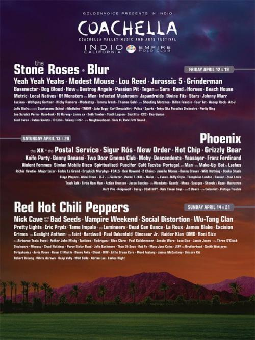 The Coachella 2013 lineup is out.  Shouts to local acts Kids These Days, Wild Belle, and Smith Westerns for representing Chicago out in the desert! Anyone going?
