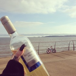 von-black:  Wine on the beach!  i can see my house from here…