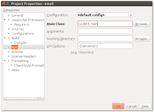 How to set Java system property values in NetBeans.