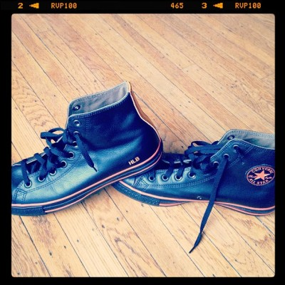 My new official Hey Little Bird leather All-stars. Designed by me! Black and orange is a coincidence. Orange is my favorite color. No Giants affiliation.