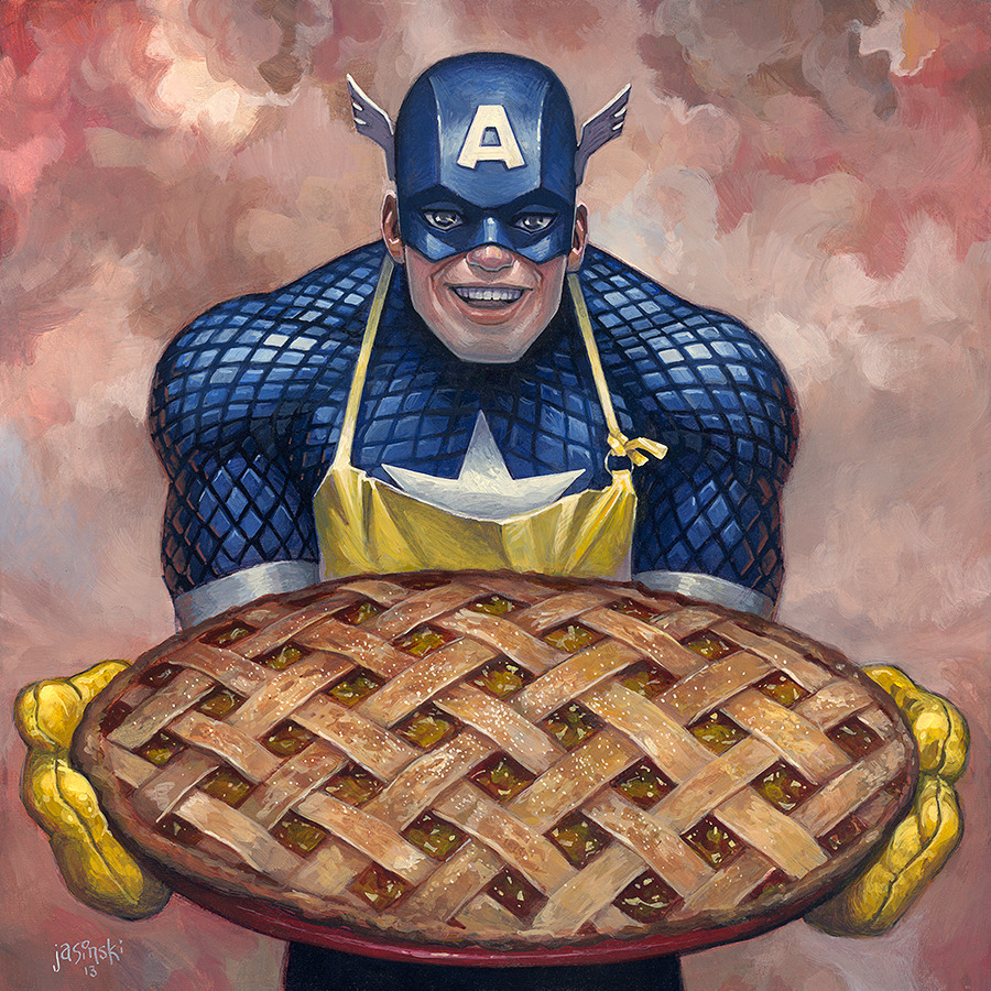 """Captain American as Apple Pie""   painted for LTD Gallery's comicbook inspired show ""Mint Condition"". Opens March 1st, 2013. http://www.ltdartgallery.com/"