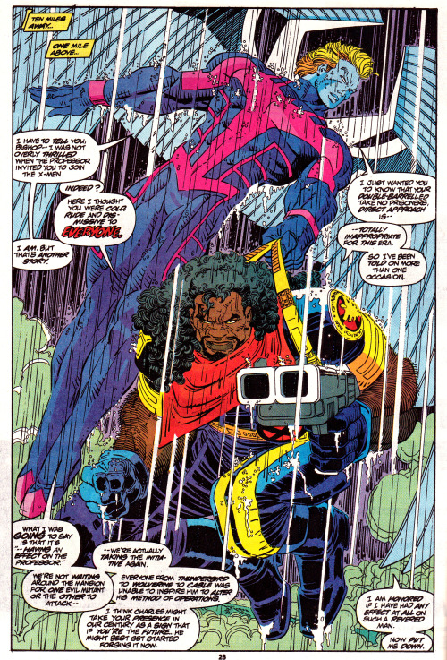 jthenr-comics-vault:  Bishop & Archangel Uncanny X-Men #300 (May 1993)Art by John Romita Jr. & Dan Green
