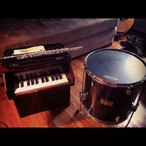 Practicing some Little Books tunes today. This is my killer set-up. #thelittlebooks #cute