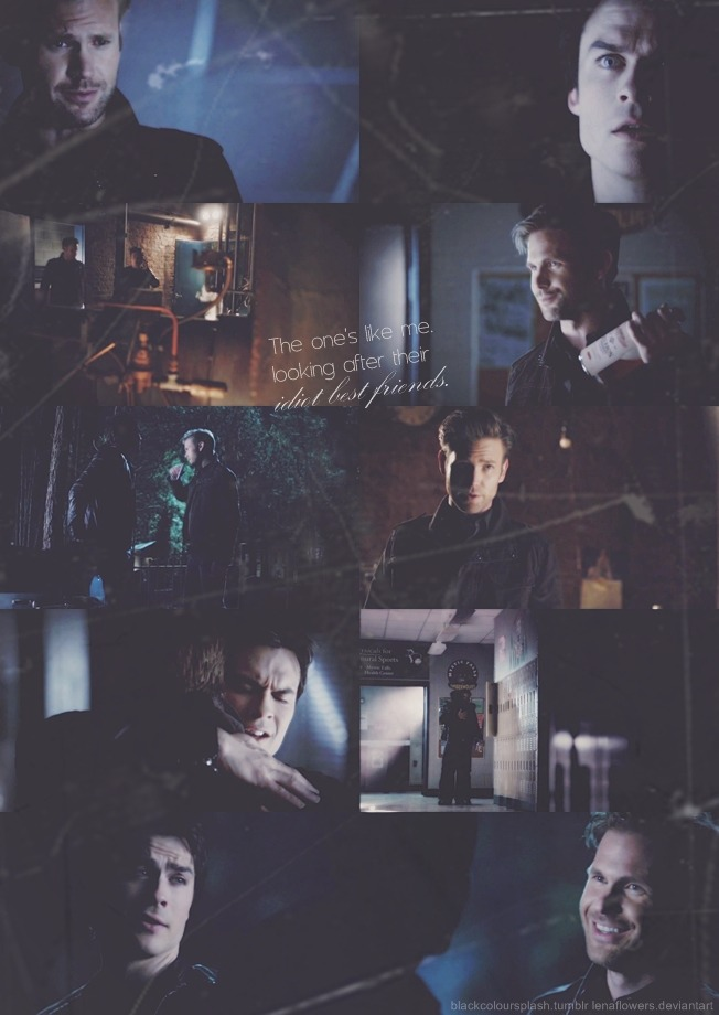 "blackcoloursplash:  Damon Salvatore & Alaric Saltzman - 4x22 ""The Walking Dead"""