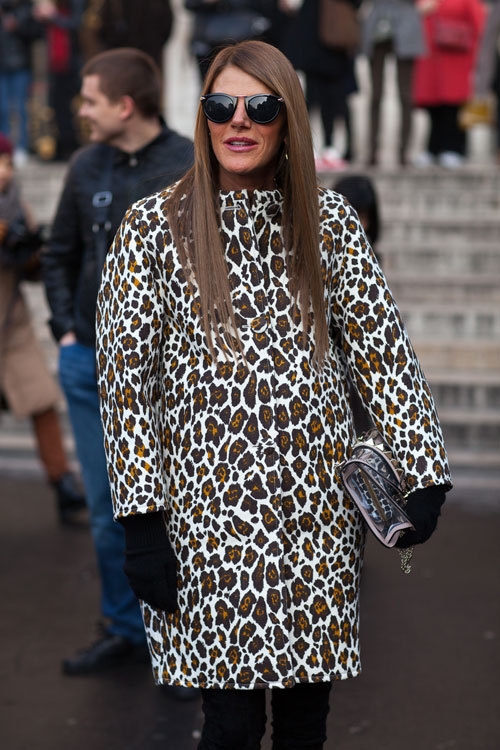 Anna Dello Russo wearing Stella McCartney, during Paris Fashion Week.