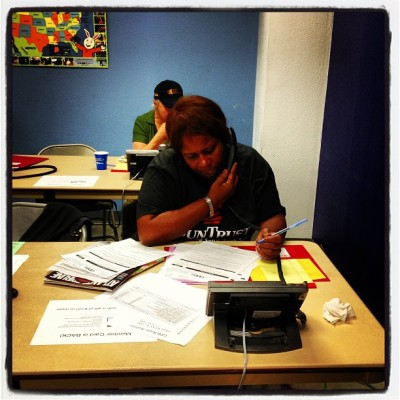 A volunteer takes a call of support for GPB radio at 800-222-4788!  (at Georgia Public Broadcasting)