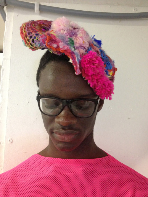 PIERRE Wears head piece by Erika Maish and airtex tshirt by Joshua Ng.