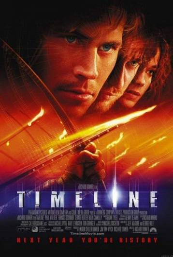 "Monty Watches: Timeline (2003) Ok, so I don't normally review movies on here, but as I read Timeline and then found out there was a movie based on it with Gerard Butler and Billy Connolly, I had to watch it.  It was terrible. Worse than the book. Instead of one of the main characters being an archaeologist  he's the Professor's son. Which means he HAS to help get him back from 1300s France. Also he gets shut down by the one female archaeologist and then half an hour later they're kissing. Huh? And Gerard Butler (whose character in the book is Dutch but in the film is… whatever accent Gerard Butler has) falls in love with the first woman he meets in the past. (""Holy shit! you're a girl!"" yeah, that smooth.) Also there's little things that annoy me like everyone gets a 'marker' that if one of them presses it, all of them get brought back to the present. Except the first thing that happens when they get to the past is they get attacked, and Redshirt presses his marker, and ONLY HE gets sent back to the present.  And everyone keeps losing their markers. Seriously, it's the ONLY THING you have to get you home and ""oops mine fell off."" It smushes the 40-hour chronology of the book into 90 minutes. Mostly by cutting the 37 hours the archaeologists have in the book to get the Professor back into 'oop, you've got 3 hours.' Which means they go from actiony-bit to actiony-bit with no real direction.  And there's some stupid causality stuff that makes little sense.  Basically, I hated it."