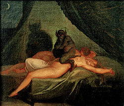 I remember this being a painting used to describe sleeping paralysis! http://en.wikipedia.org/wiki/The_Nightmare http://en.wikipedia.org/wiki/Nicolai_Abildgaard