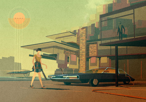 Retro Futuristic Illustrations A set of illustrations by Matthew Lyons for each section of a guide on gadgets. Matthew Lyons is a british illustrator and well known for his retro futuristic style. He creates narrative illustrations for print and web projects. More of the illustration series on WE AND THE COLORWATC//Facebook//Twitter//Google+//Pinterest