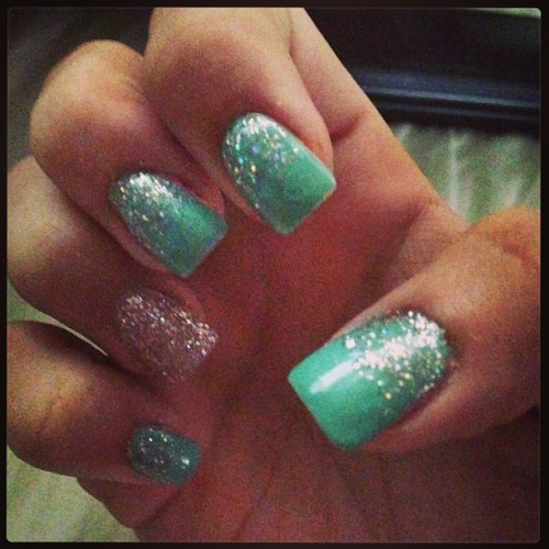 Repainted my stripper nails. #nailedit #mintandsparkles #manicure #pinterest #love