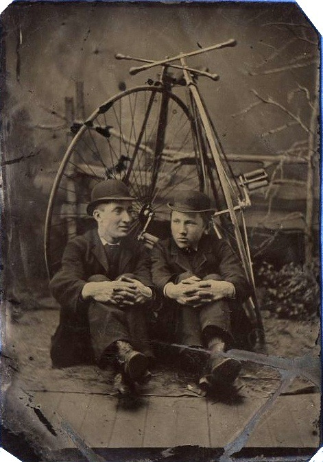 ca. 1880's, [tintype portrait of two men with their high wheel bicycles] via Flickr, Lorne Sheilds' Photostream