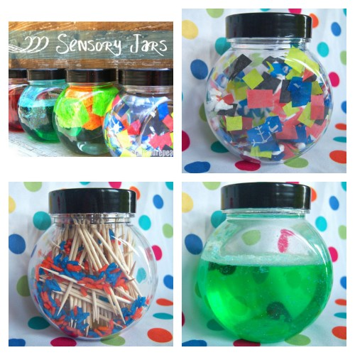 DIY 5 Sensory Jars Tutorials and Recipes from Craft and Repeat here. Rain Jar Calm Jar Oil and Water Jar Look and See Jar Static Electricity Jar