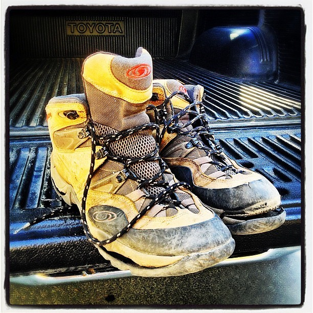 Time to retire the old day hiking boots. Oh, the places we've been! (at Yosemite Village)