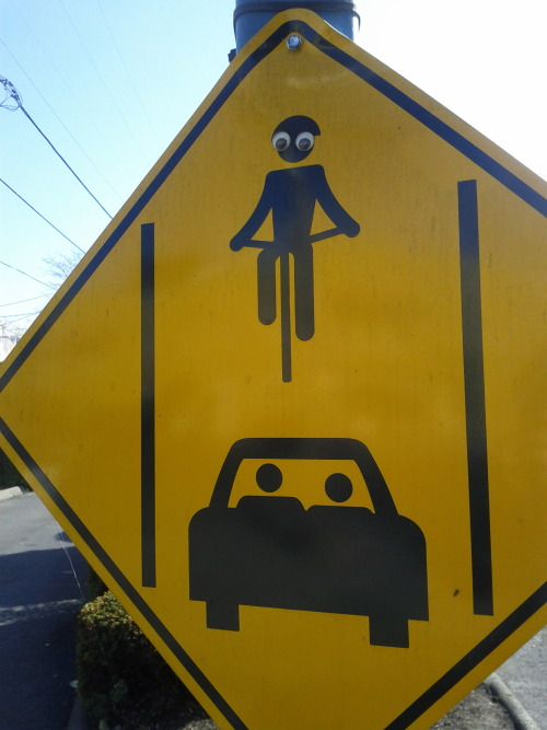 vandaleyesarmy:  Watch out for bikes in the drive-through lane! Seen in Portland, OR.