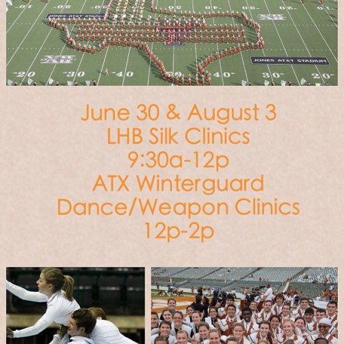 Hey UT students!   LHB SILKS will be holding clinics in conjunction with ATX Winterguard!   These FREE clinics are open only to UT students or those planning to attend UT in the fall! #hookem #UT #austin #ATX