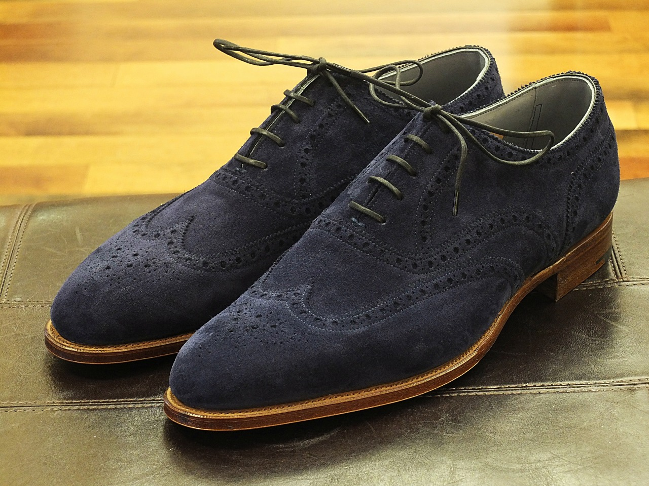 Edward Green Malvern in indigo suede on the 82 last with natural edged soles.