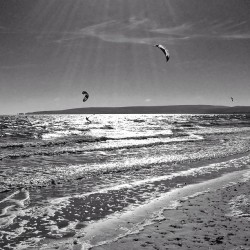 #kitesurfers in action off #sandbanks #waves #wind #blackandwhite  (at Shore Road Beach)