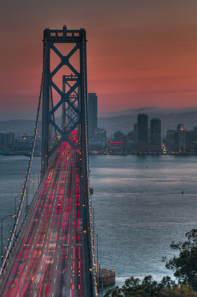 travelingcolors:  Bay Bridge Sunset, San Francisco | California (by Jon Bauer)