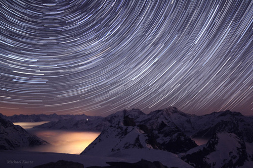 Star Trails over Swiss Alps