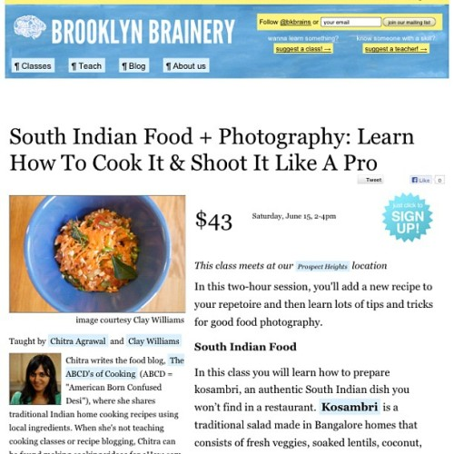 So excited! Collaborating with food photographer @ultraclay on this South Indian + Food Photography class @bkbrains June 15th. Go to the link in my profile for details #brooklyn