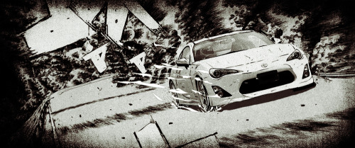 "Artist: Bao T. Nguyen  ""This was a pitch for the new Toyota GT 86. I was inspired by the manga/anime, Initial D. Initial D was  focused on the world of illegal Japanese street racing in Japan. The star of the manga was a Toyota AE 86. Toyota GT 86 being a  spiritual successor to the classic AE 86. I wanted to pay homage to the manga by putting in the new car into the manga comic style world."""