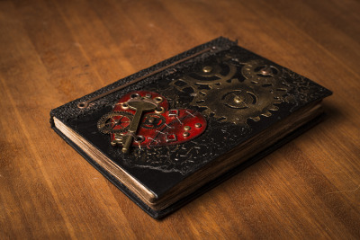 A Steampunk inspired book, made by Natash Lees