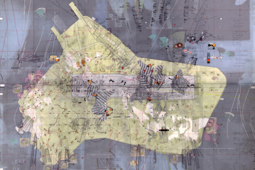 "David's Island Strategic Plot Drawing (24"" x 36"")- Perry Kulper Materials - mylar, graphite, ink, tape, found imagery, x-rays, foil, photographs, transfer letters + trasnfer film, and cut paper"