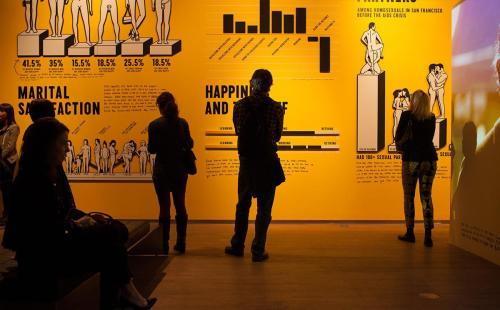 Visitors taking in the infographic wall in The Happy Show at Design Exchange, Toronto. The infographic wall was originally on view in ICA Philadelphia's Ramp Space.