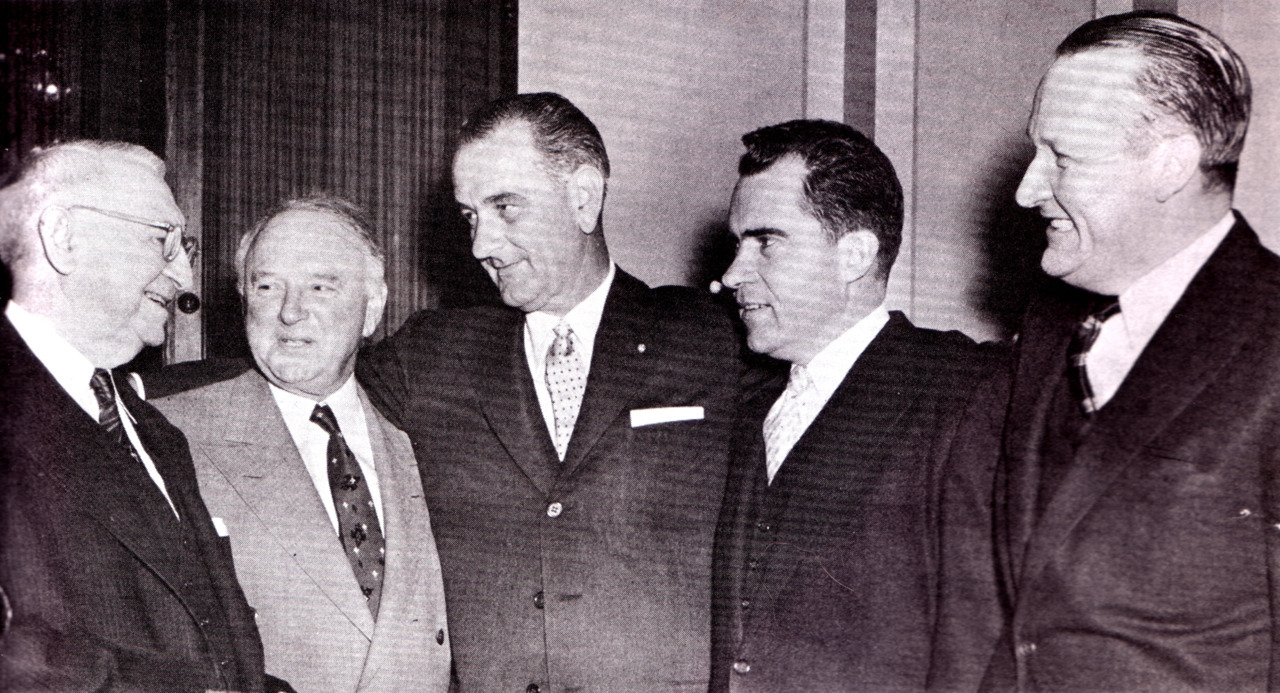 Senate leaders meet at the opening of the 1956 session.
