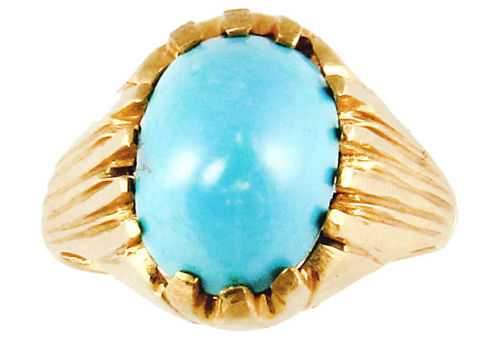14K yellow gold and turquoise ring in Egyptian Revival style of the 1920-1930s with the sides engraved in papyrus motif. No maker's mark. Size 8. Weighs 4.2 dwts. Sold by Ruby + George on One Kings Lane Vintage and Market Finds