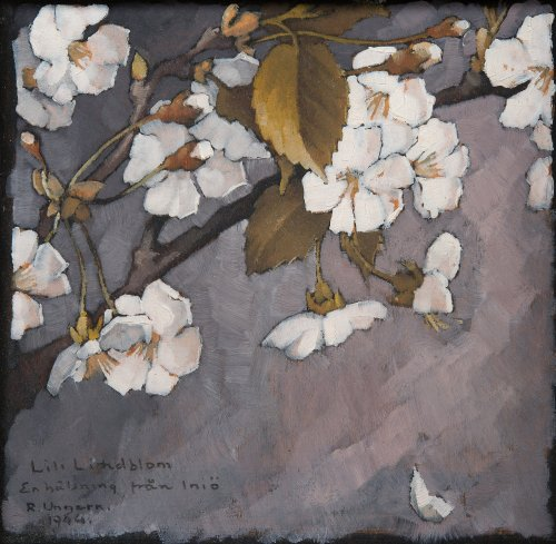 wasbella102:  Ragnar Ungern (Finnish, 1885-1955), Apple Blossom, 1944. Oil on board, 13 x 12 cm. blastedheath: