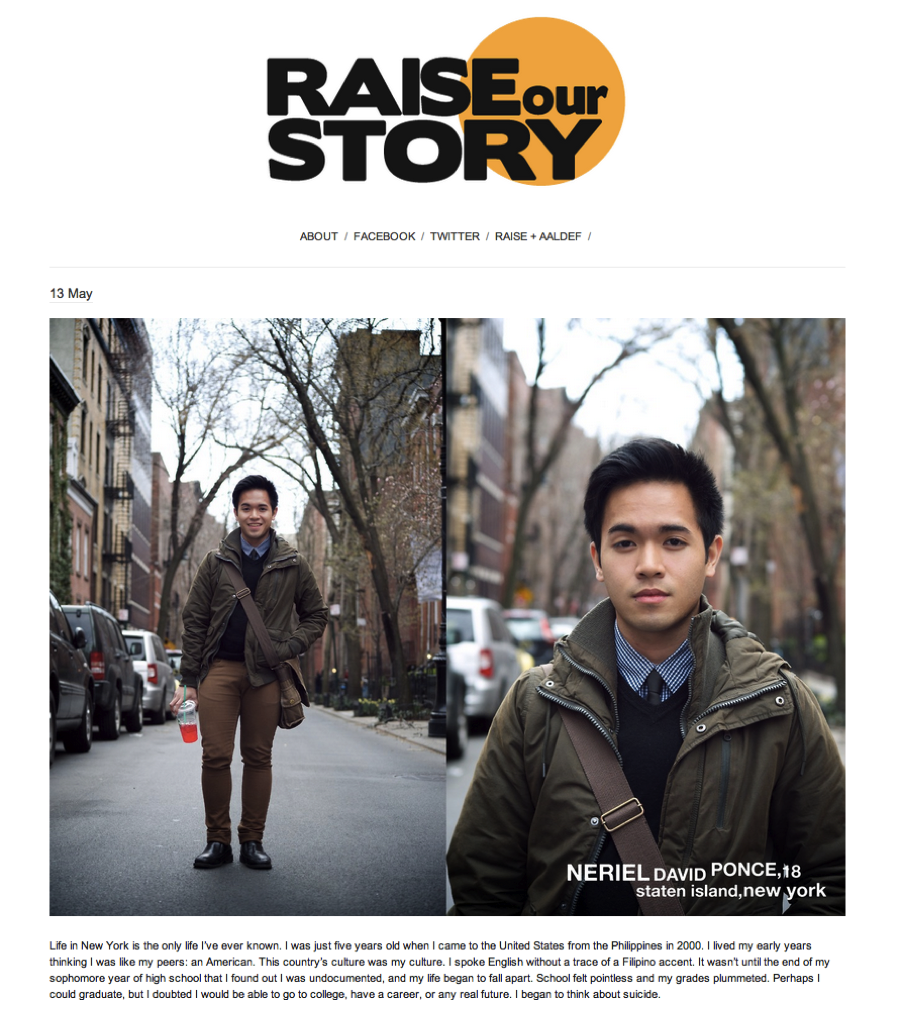 new:  Raise Our Story aims to illustrate the diversity of the undocumented experience, focusing on the individual profiles of undocumented Asian immigrants who are often overlooked in the narrative surrounding immigration reform.