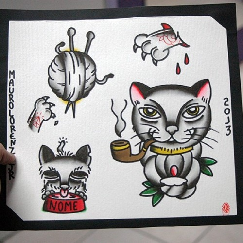 Cats! (at Santo Sangre Tattoo Shop)