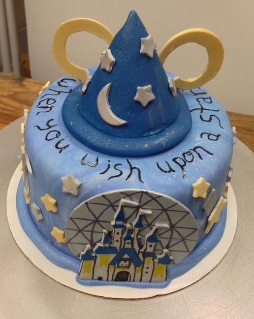 Danielle's Disney World themed birthday cake! Featuring the Epcot globe, Cinderella's castle from the Magic Kingdom, and Mickey's hat from Hollywood Studios.