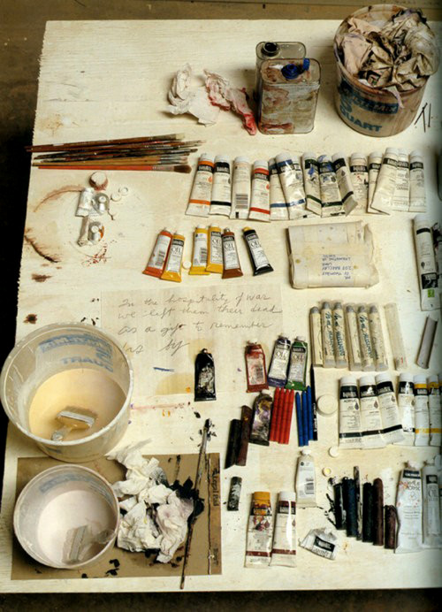 otterwerx:  likeafieldmouse:  David Seidner - Cy Twombly's Desk (1999)  In the hospitality of war we left them their dead as a gift to remember us by. - Archilochus