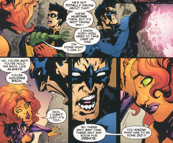 This is one of my favorite Starfire moments. It shows just how incredibly fucking powerful she is, and how she has to hold back constantly to make sure she doesn't just turn everything around her to ashes. Outsiders vol. 3 #25