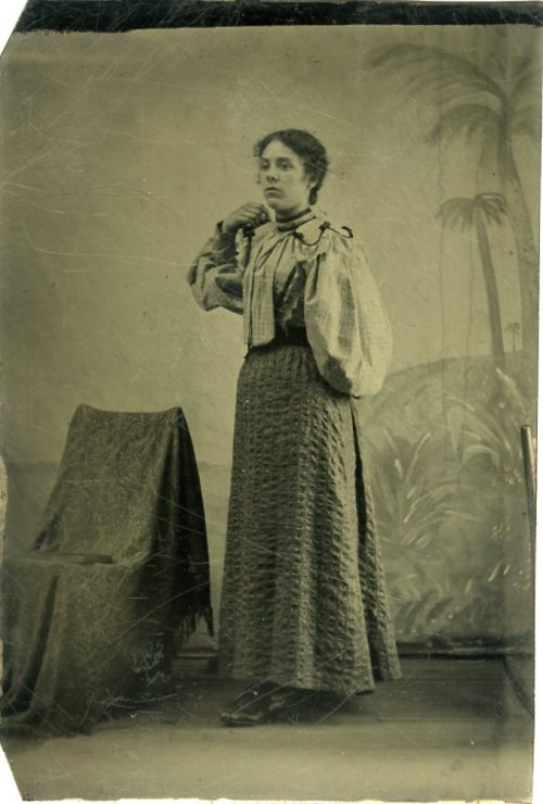 ca. 1880-1900's, [tintype portrait of a one-armed woman] via Jeffery Kraus Antique Photographics, Tintype Collection