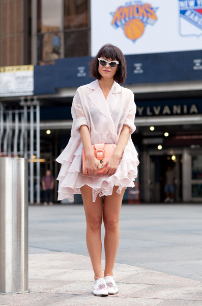 Sophia is positively frilly while posing outside of Madison Square Garden…Clinton, NYC (via Mr. Newton)